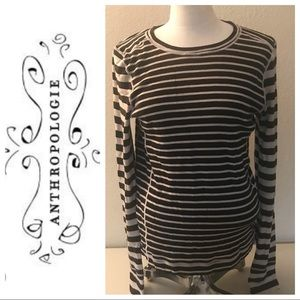 Akini by Anthropologie striped brown and cream top